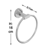 Klaxon Vector Silver Brass 6.7 x 2.8 x 6.3 Inch Towel Ring