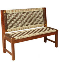 Knitted Jute Bench In White & Brown Colour By Reme