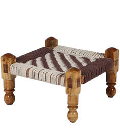 Knitted Jute Stool (Chowki) In White & Brown Colour By Reme