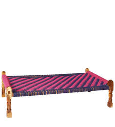 Knitted Jute Settee In Blue & Pink Colour By Reme