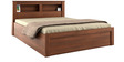 Kosmo Arena Queen Bed with Box Storage in Rigato Walnut Finish by Spacewood