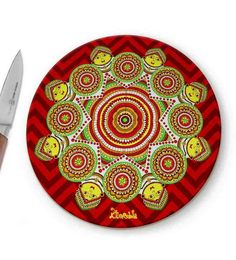 Kolorobia Madhubani Glass Chopping Board