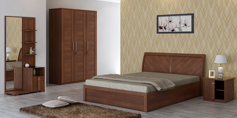 Kosmo Grace Queen Bed with Lift on Storage in Rigato Walnut Finish by Spacewood