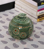 Kokoon Green Ceramic Tea Light Holder with Flower Lid