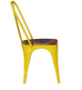 Kumtor Metal Chair in Distressed Yellow Color with Wooden Seat by Bohemiana