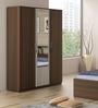 Kosmo Ambry Three Door Wardrobe with Mirror in Moldau Akazia Brown and White Finish by Spacewood