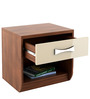Kosmo Lotus Bed Side Table in Rigato Walnut & Beige Colour by Spacewood