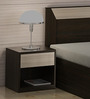 Kosmo Stark Bed side Table in Fumed Oak & Mountain Larch Finish by Spacewood