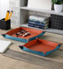 Kraftsmen Leather Orange & Blue Snap Tray - Set of 2