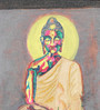 Krish Art Canvas & Acrylic 7.5 x 1.5 x 10.5 Inch Buddha with Red Halo Original Framed Painting
