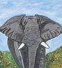 Krish Art Canvas & Acrylic 8 x 1.5 x 11.5 Inch Elephant Original Framed Painting
