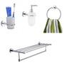 KRM Decor Moonstone Brass & Glass Bathroom Fixture Set - Set of 4