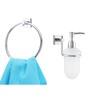 KRM Decor Solitaire Brass & Glass Bathroom Fixture Set - Set of 2