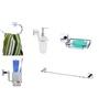 KRM Decor Brass & Glass Bathroom Fixture Set - Set of 5