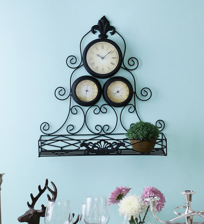 Kulture Label Black Metal & Glass 19.5 x 21 Inch Thermometer & Hygrometer Wall Clock  available at Pepperfry for Rs.2831