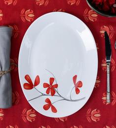 La Opala Diva Cherry Petal White Opal Ware Rice Platter