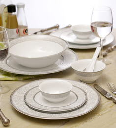 Lakline White And Grey Porcelain 33-piece Dinner Set