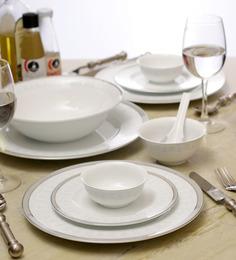 Lakline White Porcelain 33-piece Dinner Set