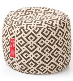 Large Cotton Canvas Geometric Design (Round Shaped) Ottoman with Beans by Style Homez