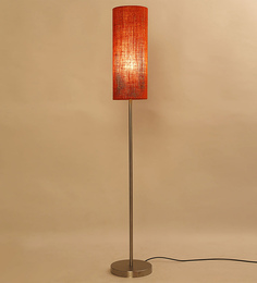 Lavish Orange Iron Cylinder Shade Floor Lamp