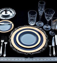 Lazzaro Double Indulgence 47 Pcs Dinner Set - Off White, Blue & Gold