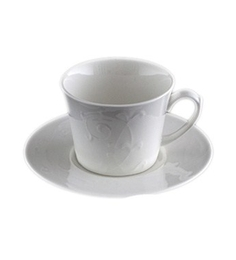 Lazzaro Ivy White Bone China 200 ML Cup and Saucer - Set of 2
