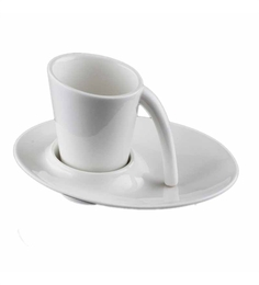 Lazzaro Sheep White Bone China 130 ML Cup and Saucer - Set of 2