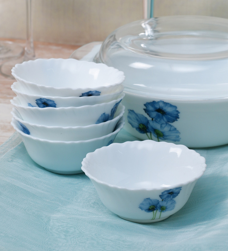La Opala Diva Blue Poppies Opal Ware 110ML Veg Bowl  - Set of 6  available at Pepperfry for Rs.429