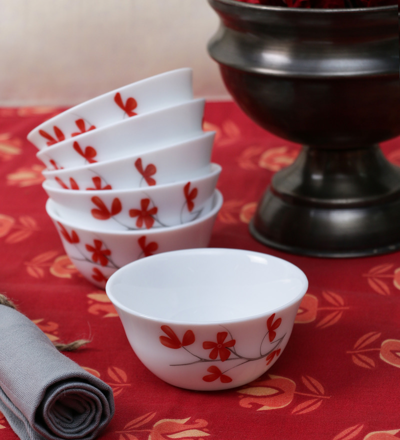 La Opala Diva Cherry Petal Opal Ware 110ML Veg Bowl - Set of 6  available at Pepperfry for Rs.429