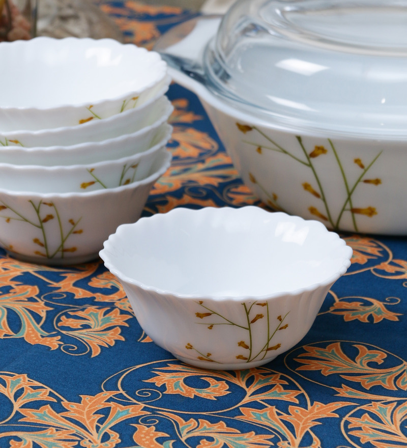 La Opala Diva Citron Weave Opal Ware 110ML Veg Bowl - Set of 6  available at Pepperfry for Rs.429