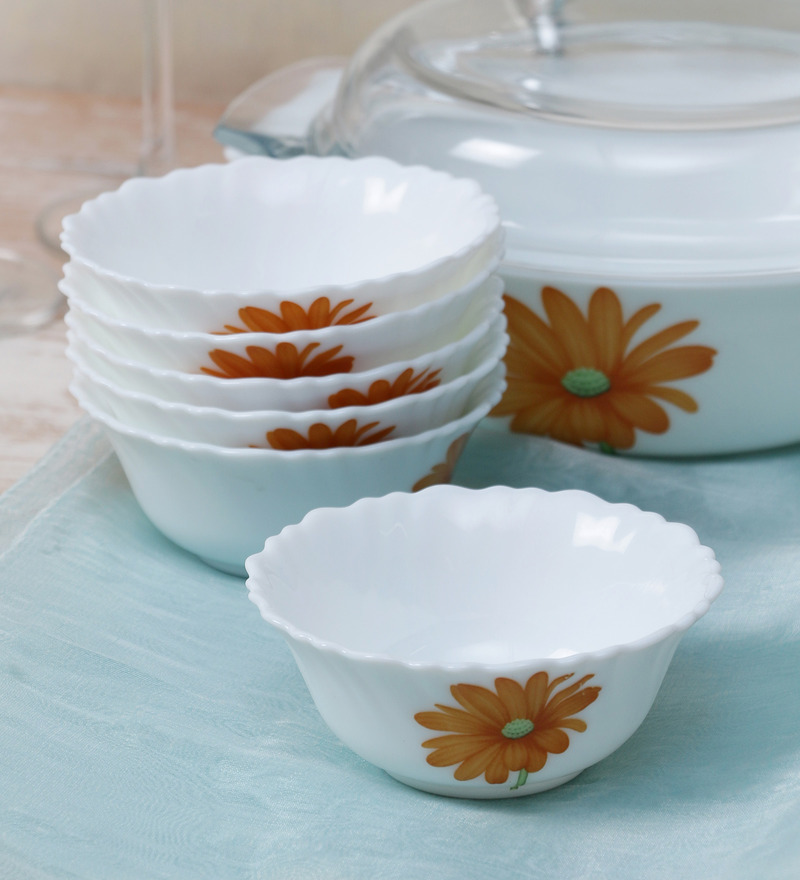 La Opala Diva Crimson Bloom Opal Ware 110ML Veg Bowl - Set of 6  available at Pepperfry for Rs.429