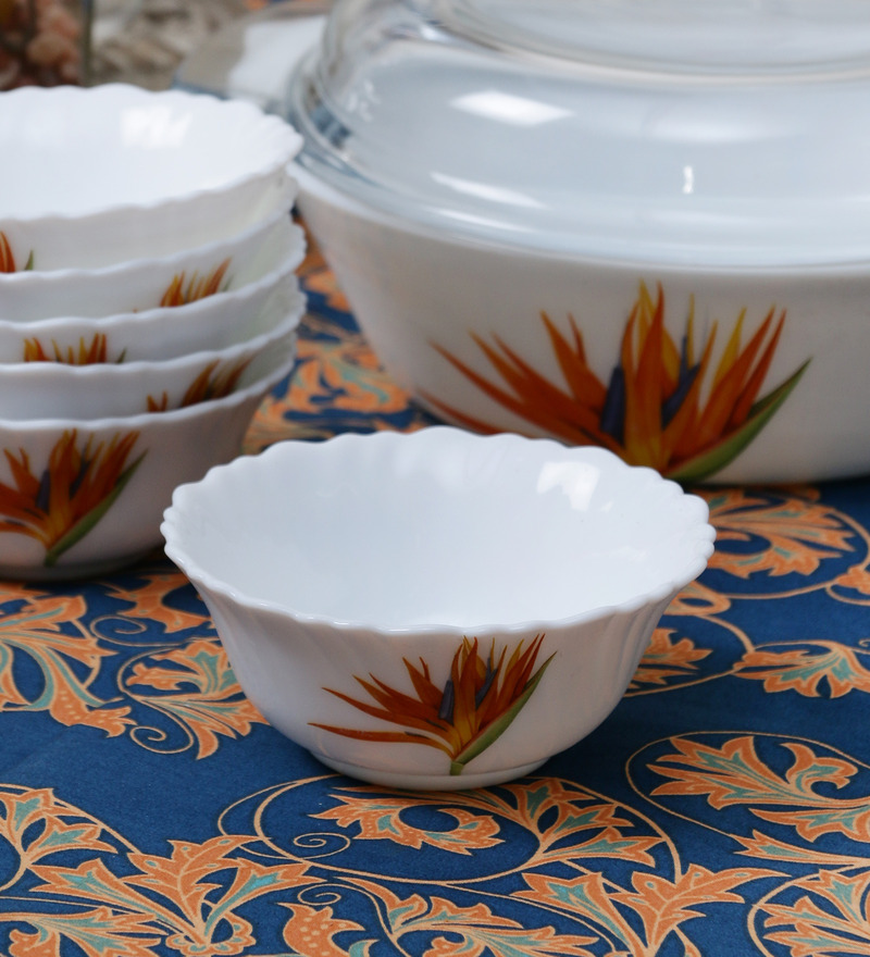La Opala Diva Flaming Grace Opal Ware 110ML Veg Bowl - Set of 6  available at Pepperfry for Rs.429