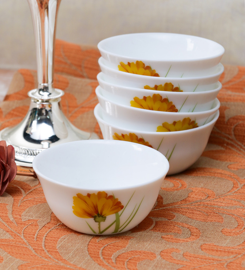 La Opala Diva Glowing Charm Opal Ware 110ML Veg Bowl  - Set of 6  available at Pepperfry for Rs.429