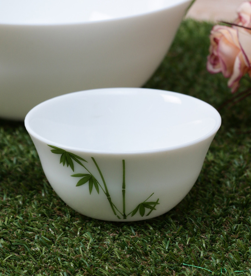 La Opala Diva Green Foliage Opal Ware 110ML Veg Bowl - Set of 6  available at Pepperfry for Rs.429