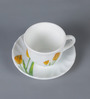 La Opala Tulip Large Tulip Passion Opal Ware 180 ML Cup and Saucer - Set of 6