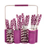 Lacuzini Rocky Magenta Polka Dot Stainless Steel 16-piece Cutlery Set with Stand