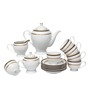 Lakline White and Golden Porcelain 15-piece Tea Set
