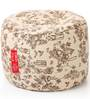 Large Cotton Canvas Abstract Design (Round Shaped) Ottoman with Beans by Style Homez