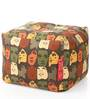 Large Cotton Canvas Abstract Design (Square Shaped) Ottoman with Beans by Style Homez