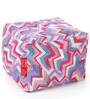 Large Cotton Canvas Geometric Design (Square Shaped) Ottoman with Beans by Style Homez