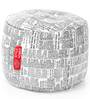 Large Cotton Canvas Newspaper Design (Round Shaped) Ottoman with Beans by Style Homez