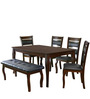 Larissa Six Seater Dining Set with Bench (1 + 4 Seater + Bench) in Capuccino Colour by @Home