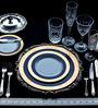 Lazzaro Double Indulgence 47 Pcs Dinner Set - Off White, Blue & Gold