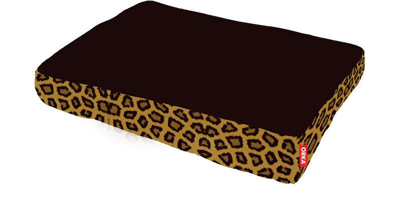 Leopard Square Pet Filled Bean Bag in Brown Colour by Orka