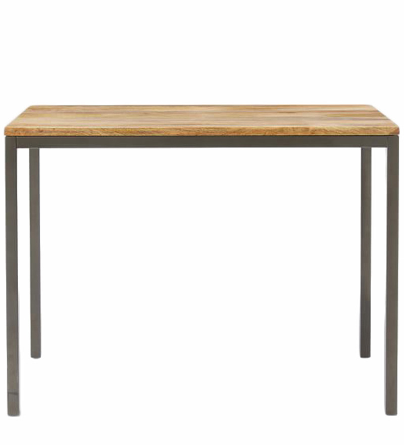 Leo Box Frame Counter Four Seater Dining Table in Brown & Black Colour by Asian Arts
