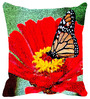 Leaf Designs Red Microfibre 12 x 12 Inch Cushion Cover