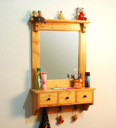 LifeEstyle Pine Wood Mirror Frame with Hooks & 3 Drawers