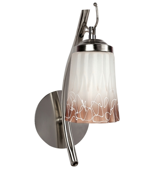 Lime Light Brown And Off White Glass And Wood Wall Mounted Light - 1498183