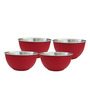 Liefde Dia Red Stainless Steel 800 ML Serving Bowl - Set of 4