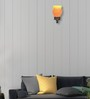 Lime Light Yellow & Orange Glass & Wood Wall Lamp